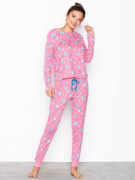 Billede af Chelsea Peers Happy Shark Long PJ Set Pyjamas & Hyggetøj Rosa/Lyserød