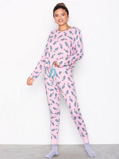 Billede af Chelsea Peers Sea Horse Long PJ Set Pyjamas & Hyggetøj Rosa/Lyserød