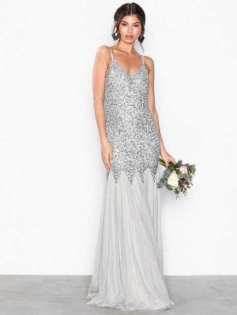 All Over Sequin Godet Fishtail Cami Maxi Dress