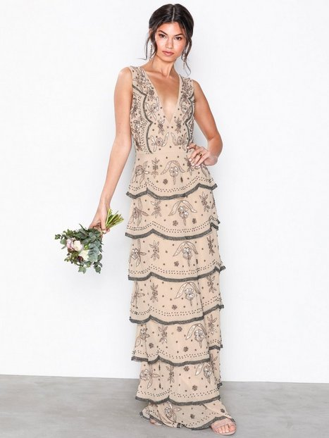 Tiered All Over Embellished Maxi Dress