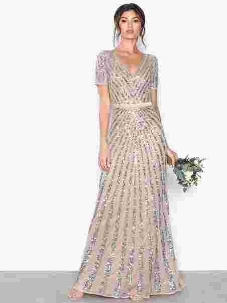 20a6db90b4ff Embellished Short Sleeve Maxi Dress - Maya - Mink - Party Dresses ...