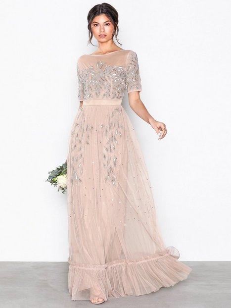 Billede af Maya Mesh Embellished Maxi Dress Maxikjoler Taupe