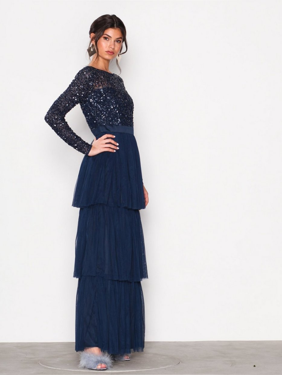 c1f189aa5a6 Delicate Sequin Tiered Maxi Dress - Maya - Navy - Party Dresses - Clothing  - Women - Nelly.com
