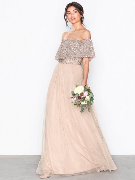 Billede af Maya Bardot Delicate Sequin Maxi Dress Maxikjoler Taupe