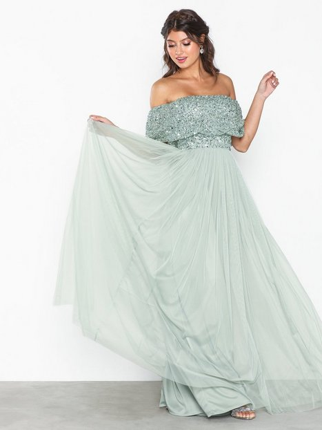 Billede af Maya Bardot Delicate Sequin Maxi Dress Maxikjoler Green