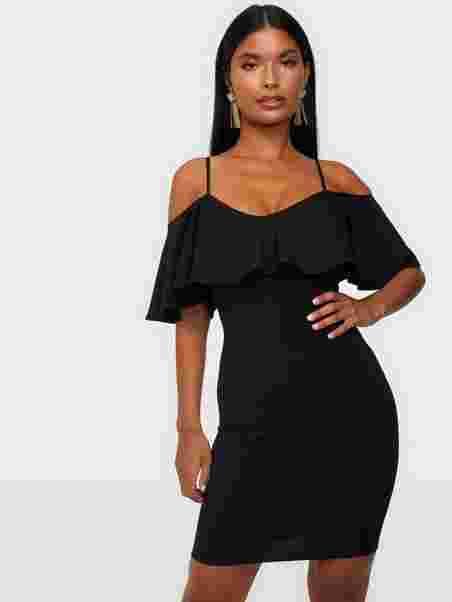 6cce981f5056 Off Shoulder Strap Dress - Nly One - Black - Party Dresses ...