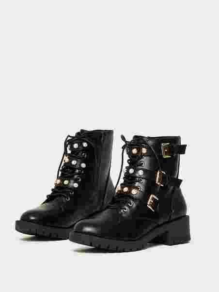 b0b05c59 Pearl Biker Boot - Bianco - Black - Boots - Shoes - Women - Nelly.com Uk