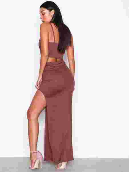 6c40332445fd High Slit Skirt - Nly One - Brown - Skirts - Clothing - Women ...