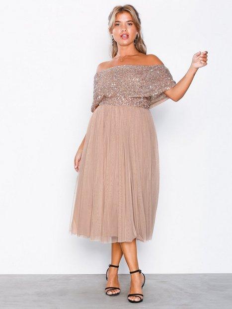 Billede af Maya Bardot Delicate Sequin Midi Dress Skater kjoler Taupe