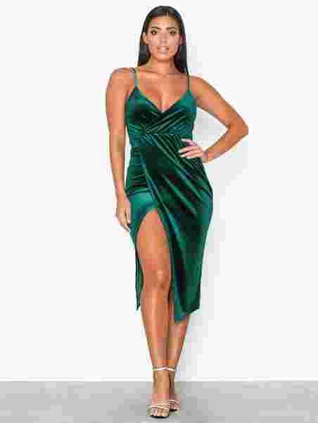 e1341452ed00 Wrap Drape Velvet Dress - Nly One - Grøn - Festkjoler - Tøj - Kvinde ...