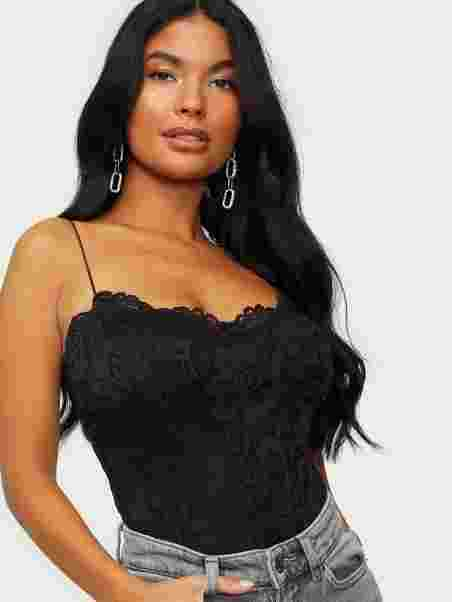 98616405bc Lace Strap Bodysuit - Nly One - Black - Tops - Clothing - Women ...