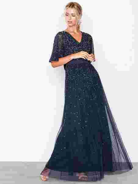 df769854ee87 V Neck Open Back Scatter Sequin Maxi Dress - Maya - Navy - Party ...