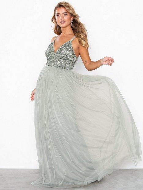 Billede af Maya Cami Plunge Delicate Sequin Maxi Dress Maxikjoler Green