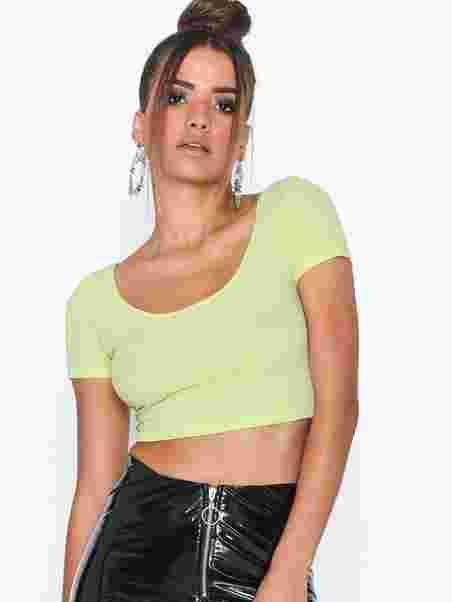 7f84007e479 Scoop Neck Crop Tee - Nly One - Lime - Tops - Clothing - Women ...
