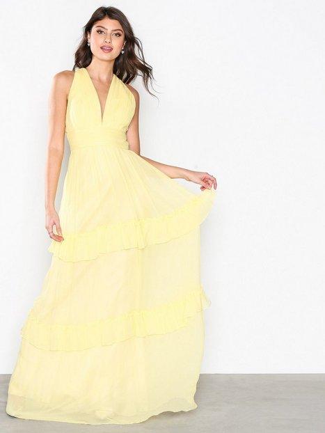 Billede af By Malina Allegra Silk Chiffon Dress Maxikjole Lemon