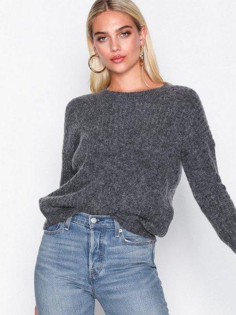 Billede af MOSS COPENHAGEN Femme Rib Mohair Pullover Strikkede trøjer Dark Grey Melange