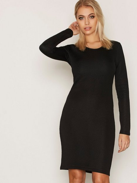 Billede af J Lindeberg Lisbeth Structure Wave Langærmet kjole Black
