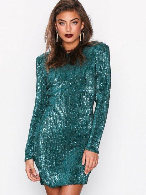 NLY Trend Power Sequin Dress Paljettimekot Vihreä thumbnail