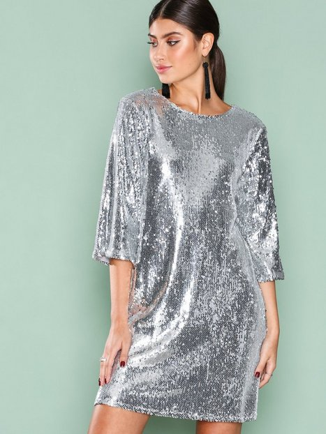 Hang Loose Sequin Dress - Nly Trend - Silver - Party ...