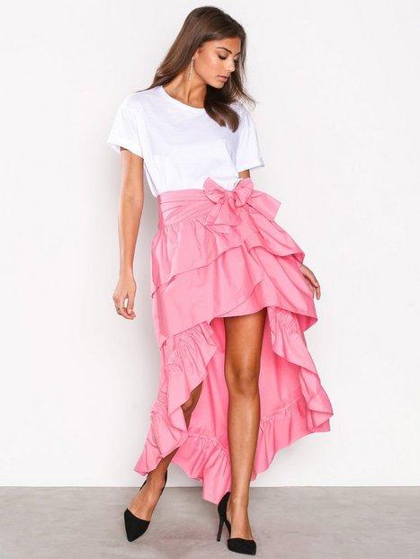 NLY Trend Frill High Low Skirt Midihameet Vaaleanpunainen thumbnail