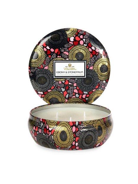 Billede af Voluspa Ebony & Stonefruit 3 Wick Candle Tin Duftlys Hvid