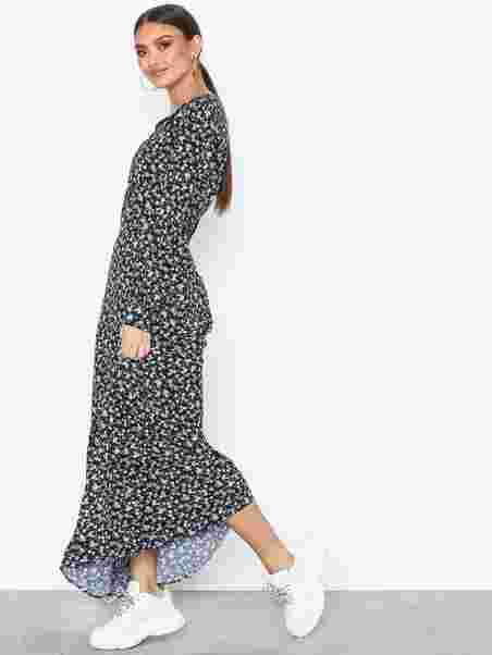 Maxi Flower Calvin Klein Ditsy D Jeans Black Print wlOkXiuTPZ