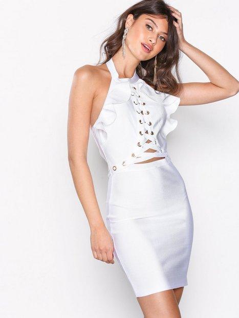 Billede af WOW Couture Ruffle Top Halter Neck Bandage Dress Kropsnære kjoler White