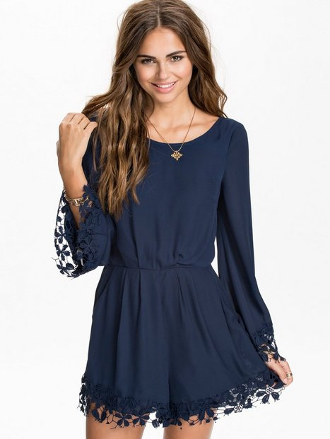 Fluted Sleeve Lace Edge Playsuit