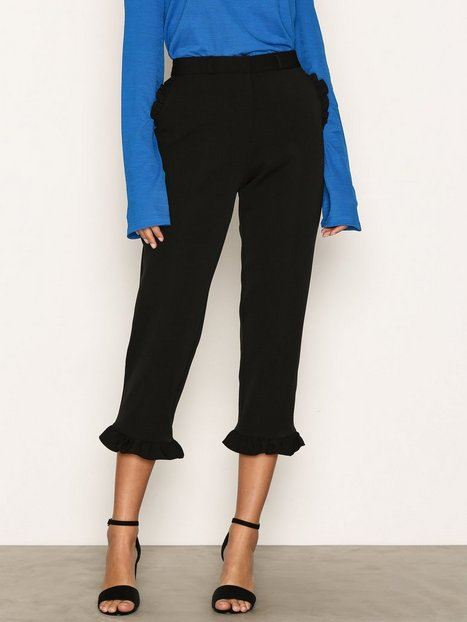 River Island Frill Hem Cropped Trousers Byxor Black thumbnail