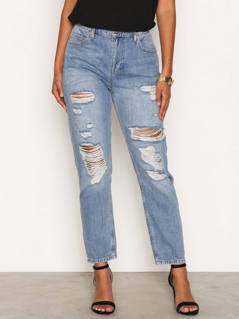 Billede af River Island Wash Ripped Mom Jeans Loose fit Mid Blue