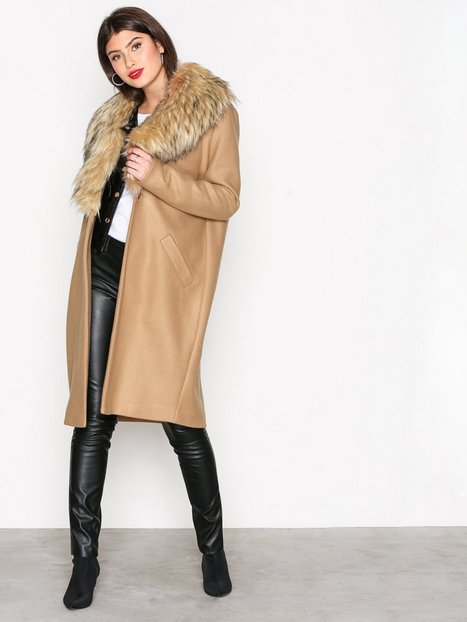 River Island Unlined Fur Collar Coat Pitkät takit Camel thumbnail