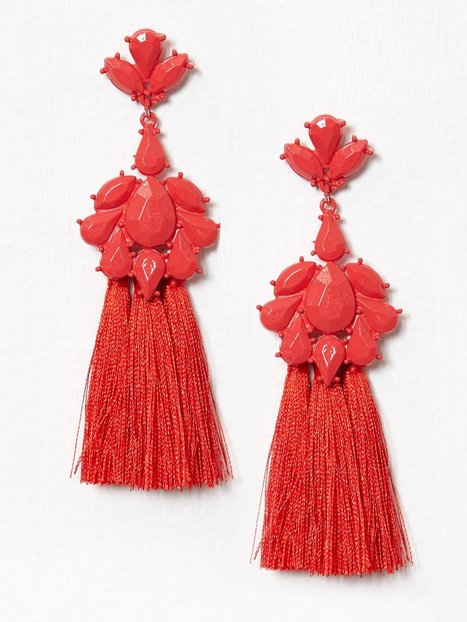 River Island Short Tassel Dangles Örhängen Red thumbnail