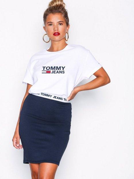 Billede af Tommy Jeans Logo Pencil Skirt Midi nederdele Sort