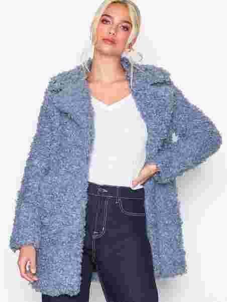 4e73bedbe3 Cookie Monster Curly Coat - River Island - Blue - Jackets - Clothing ...