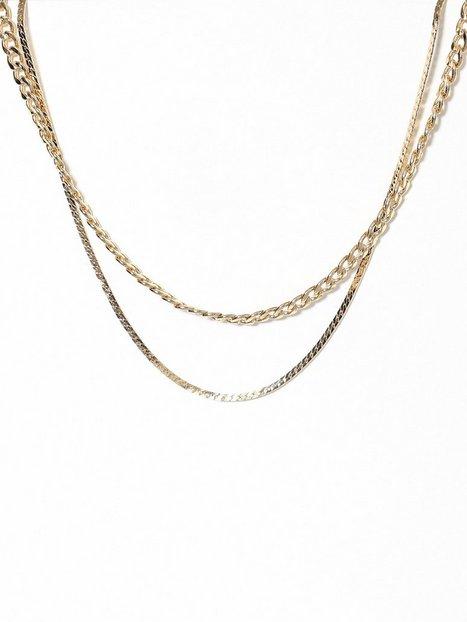 Billede af Freedom by Topshop 2 Row Curb and Snake Necklace Halskæde Gold