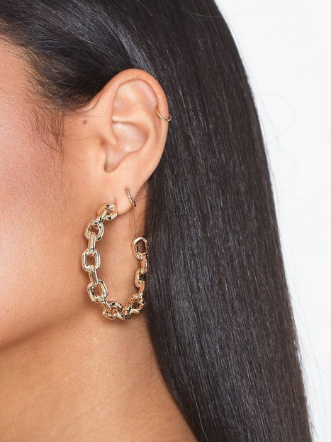 Billede af Freedom by Topshop Chain Hoop Earrings Øreringe Gold