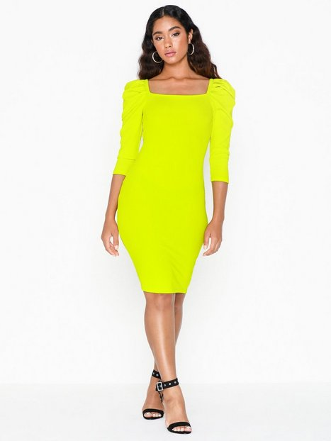 River Island Poppy Rib Mini Dress Festklänningar Lime