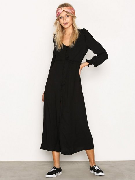 New Look Button Front Long Sleeve Midi Dress Långärmade klänningar Black thumbnail