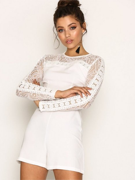Billede af New Look Lace Insert Long Sleeve Playsuit Playsuits White