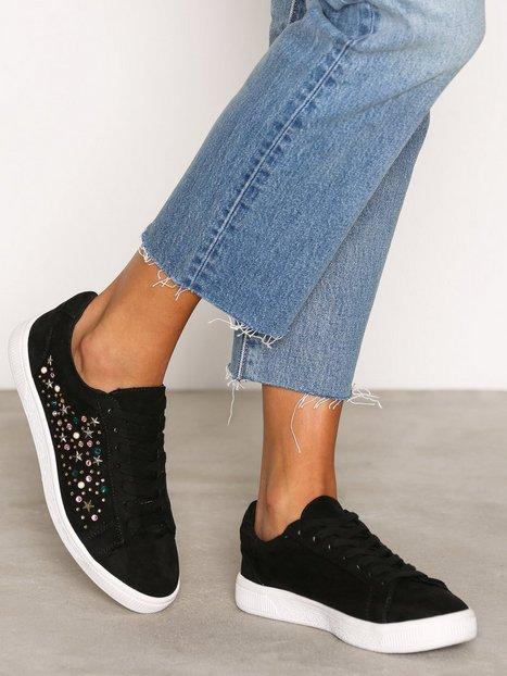 Billede af New Look Embellished Lace Up Sneakers Black
