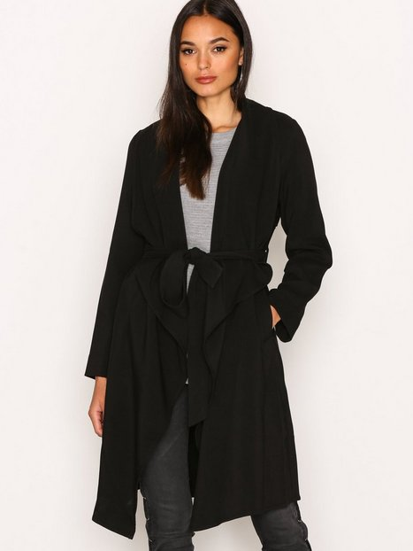 Billede af New Look Waterfall Belted Coat Trenchcoat Black