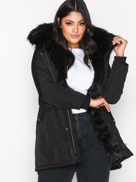 Faux Fur Lined Parka - New Look - Black - Jackets - Clothing ...