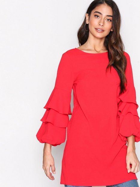Billede af New Look Ruffle Long Sleeve Dress Loose fit Red