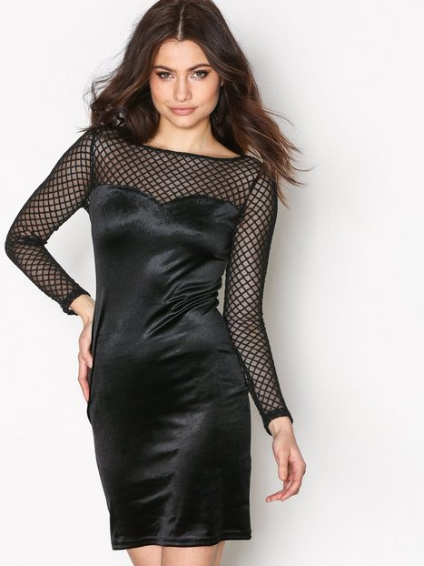 Very Cheap Outlet Official Womens Fishnet Sleeve Velvet Dress New Look Cheap Sale Official B10JEYDq