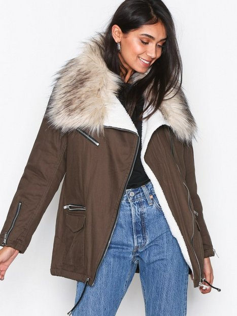 New Look Faux Fur Short Parka Parkatakit Khaki thumbnail