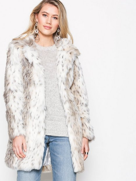 Billede af New Look Animal Print Faux Fur Coat Faux Fur White Print