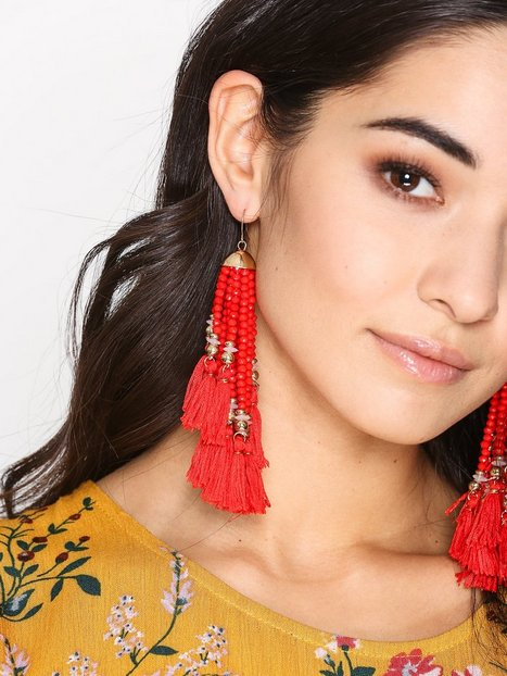 Billede af New Look Beaded Tassel Drop Earrings Ørering Red