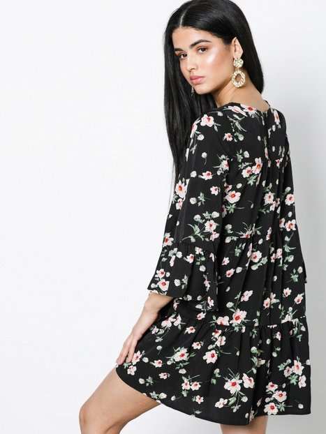 Bell Sleeve Tiered Smock Dress
