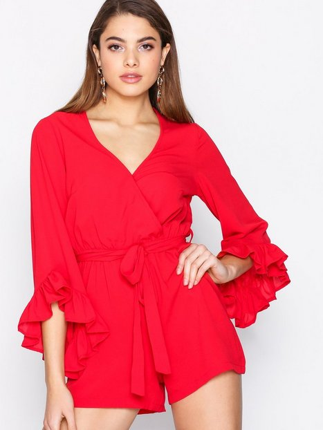 Billede af New Look Plain Ruffle Wrap Playsuit Playsuits Red