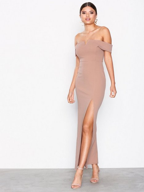 Billede af New Look Bardot Neck Split Side Maxi Dress Maxikjoler Pale Pink